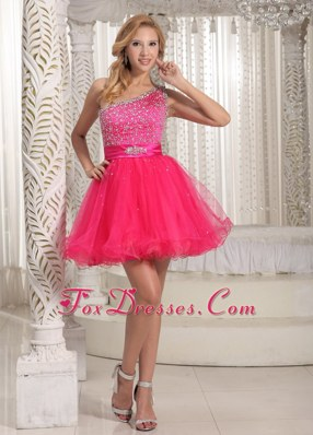 Cute One Shoulder Hot pink Beading Prom Evening Dress