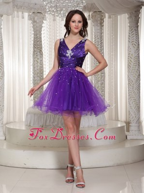 Custom Made Beading V-neck Purple Prom Cocktail Dress