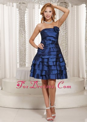Stylish A-line Ruched Layers Navy Blue Prom Dresses