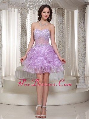 Romantic Lavender Beading Sweetheart Party Dress for Homecoming