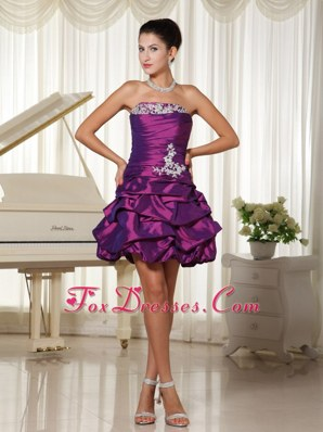 Formal Appliques Eggplant Purple Strapless Cocktail Dress