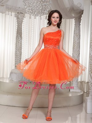 One Shoulder Beading Homecoming Dresses In Orange