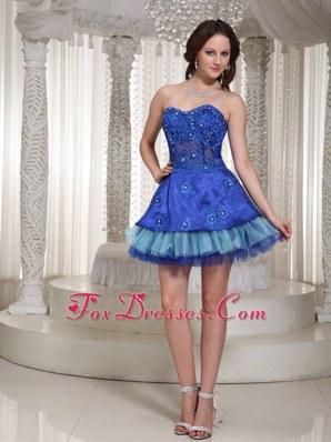 Sweetheart Blue Simple Beading Prom Party Dress