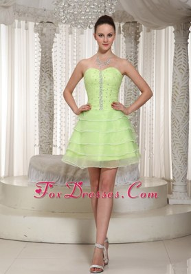 Yellow Green Beading Short Prom Dress Sweetheart