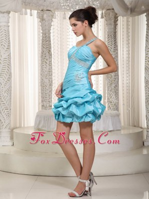 A-line One Shoulder Taffeta Beading Homecoming Cocktail Dress
