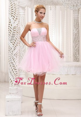 Beading Baby Pink Prom Homecoming Dress Strapless Mini-length