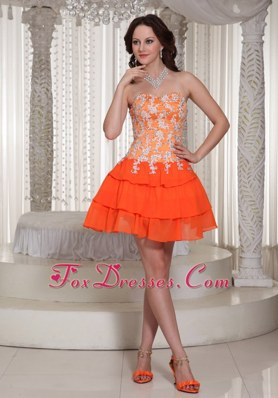 Appliques Orange Sweetheart Prom Homecoming Dress