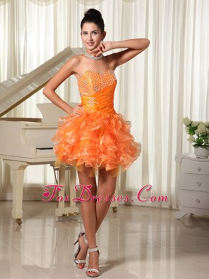 Sweetheart Prom Cocktail Dress Beading Ruffles