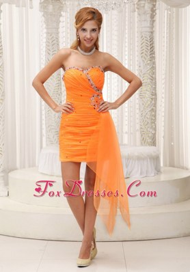 Ruching Beading Sweetheart Orange Homecoming Dress 2013
