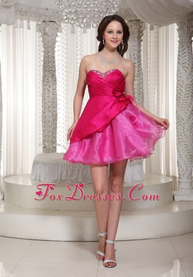 Hot Pink Mini-length Sweetheart Prom Homecoming Dress Beading
