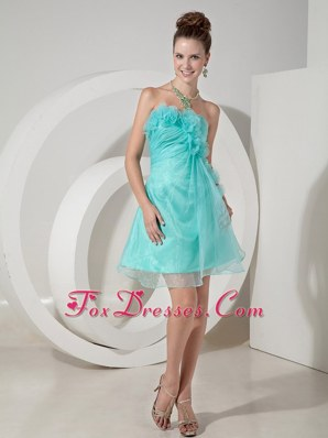 Strapless Mini-length Hand Made Flowers Prom Homecoming Dress