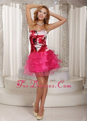 Hot Pink Homecoming Dress Printing Mini-length 2013
