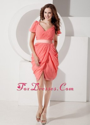 Watermelon V-neck Knee-length Chiffon Belt Prom Homecoming Dress