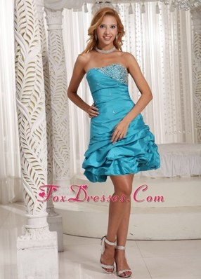 A-line Strapless Beading Pick-ups Prom Homecoming Dress Taffeta
