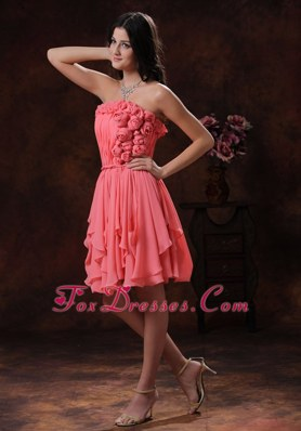 Watermelon Flowers Decorate Chiffon Short Prom Dress