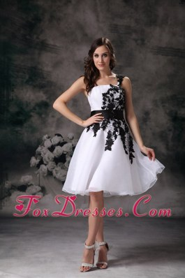 White One Shoulder Organza Lace Homecoming Dress