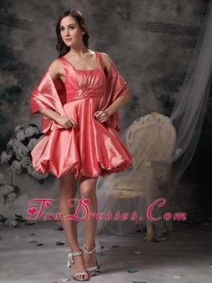Watermelon Straps Mini-length Taffeta Prom Homecoming Dress