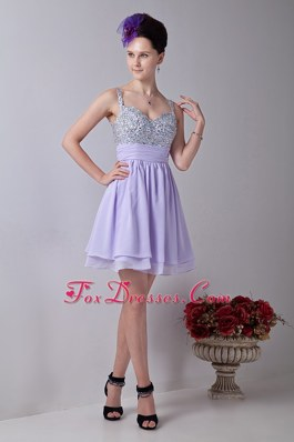 Sweet Straps Empire Beading Cocktail Dresses in Lilac