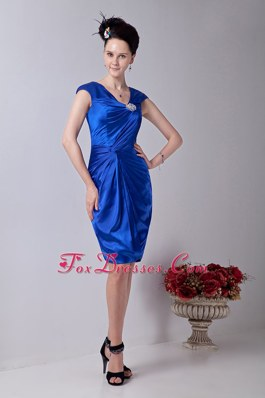 Cheap Column V-neck Knee-length Royal Blue Prom Dresses