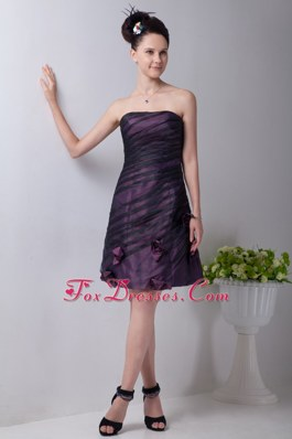Column Strapless Purple Hand Made Flowers Prom Dresses