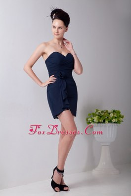 Simple Navy Blue Empire Sweetheart Ruching Pageant Dresses