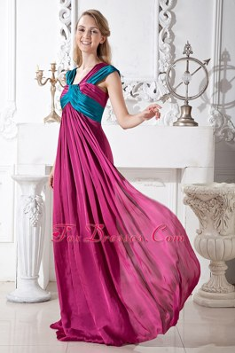 Affordable Ruching Fuchsia Empire Straps Long Pageant Dress
