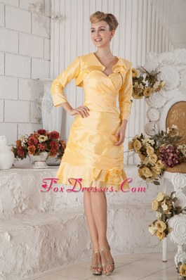 Ruching Yellow Sweetheart Prom Homecoming Dress with Knee-length