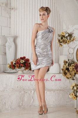 Gray Ruching Column One Shoulder 2013 Homecoming Dresses