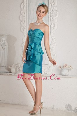 Short Turquoise Column Sweetheart Sash Pageant Dresses for Prom