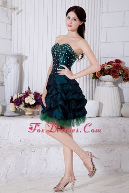 Turquoise Sweetheart Mini-length Beading Prom Dresses