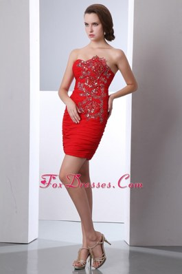 Beading Red Column Sweetheart 2013 Homecoming Dresses