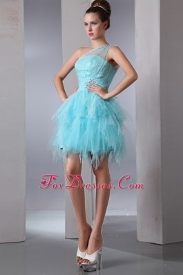 Beading Aqua Blue Column One Shoulder Asymmetrical Cocktail Dresses