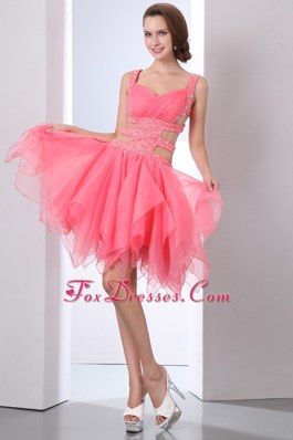 Beading Watermelon Sexy Straps Asymmetrical Evening Homecoming Dress
