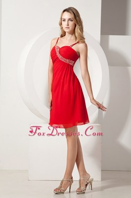 Beading Empire Spaghetti Straps Knee-length Prom Party Dress in Red