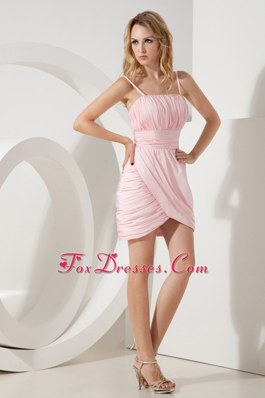 Ruching Pink Column Straps Homecoming Dresses for Prom