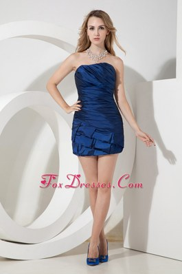 Ruching Simple Column Sheath Strapless Short Nightclub Dress in Blue