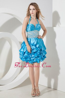 Pretty Rulffes Baby Blue Column Halter 2013 Party Dress