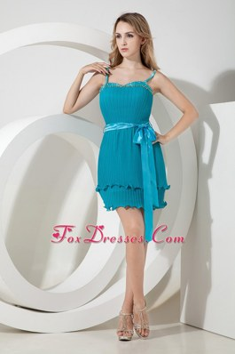 Affordable Beading and Bow Teal Column Spaghetti Straps Dama Dress