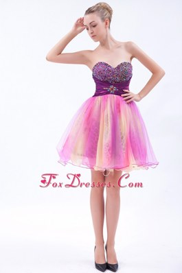 Pretty Multi-color Beading Sweetheart Short Prom Evening Dress