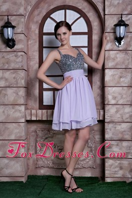 Spaghetti Straps Knee-length Lilac Cocktail Dress with Beading