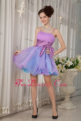 Beading and Ruching Colorful Straps Prom Party dress