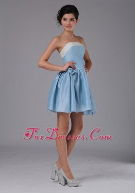 Simple Light Blue Princess Strapless Mini-length Prom Graduation Dress