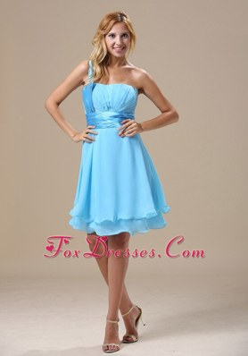 One Shoulder Light Blue Ruched Knee-length 2013 Prom Graduation Dress