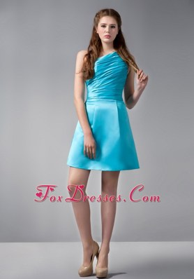 One Shoulder Aqua Blue Ruching A-line Mini-length Graduation Cocktail Dress