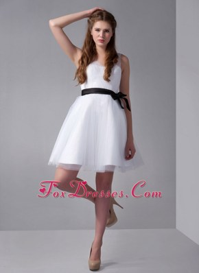 V-neck White A-line Mini-length Sash Prom Graduation Dress