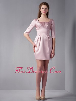 Square Column Half Sleeves Mini-length Graduation Cocktail Gown