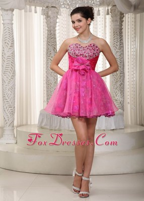Hot Pink A-line Mini Beading and Flower Prom Dress