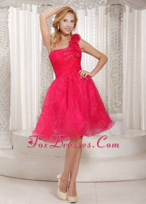 Flowers Hot Pink One Shoulder Graduation Dress Ruche