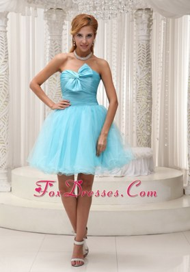 Aqua Blue A-line Cocktail Dress Ruched Mini-length