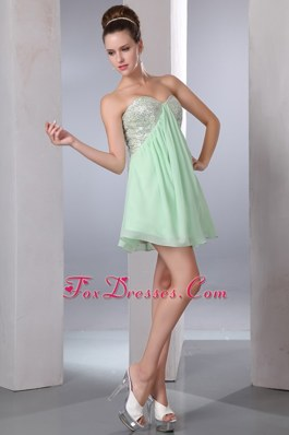 Apple Green Empire Mini Sequin Graduation Cocktail Dress